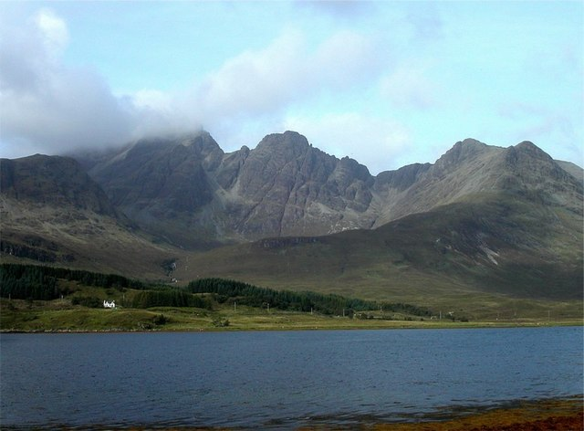 Bla Bheinn rising above the shores of Loch Slapin