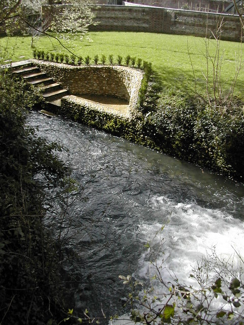 The mill race on the River Cerne, Cerne Abbas