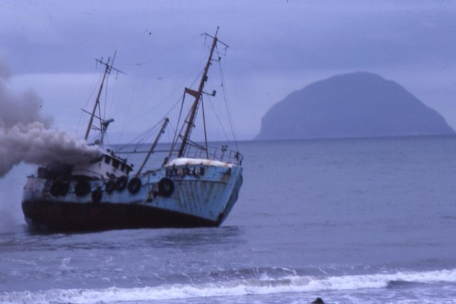 Fishing boat Wellspring beached and on fire