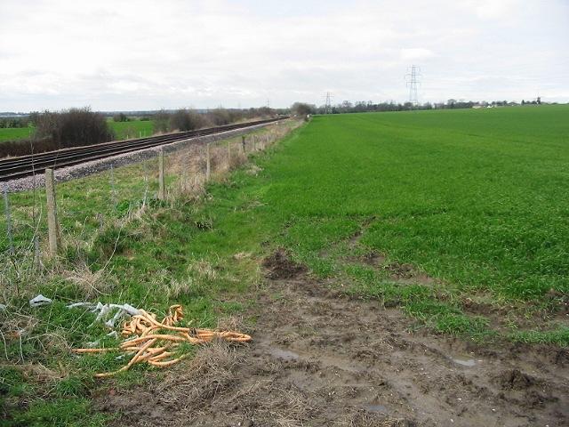 Looking W along railway line
