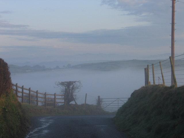 Country lane near Llangwyryfon