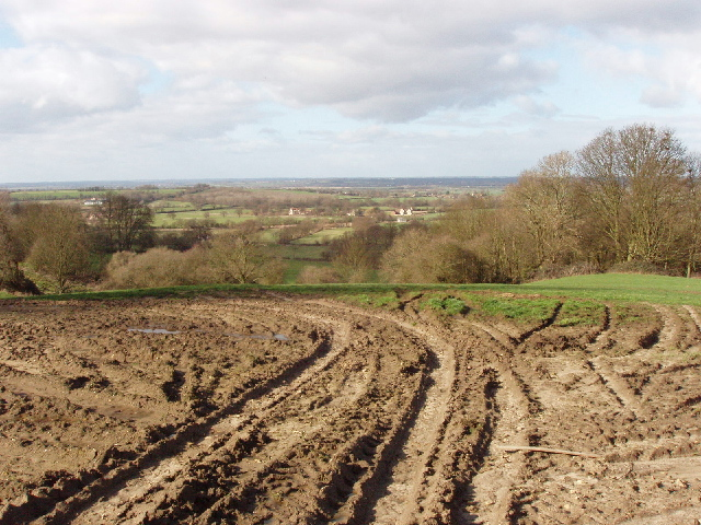 Churned up field, view towards Noke