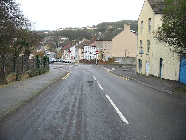 Looking SW down Green Lane into Whitfield Avenue