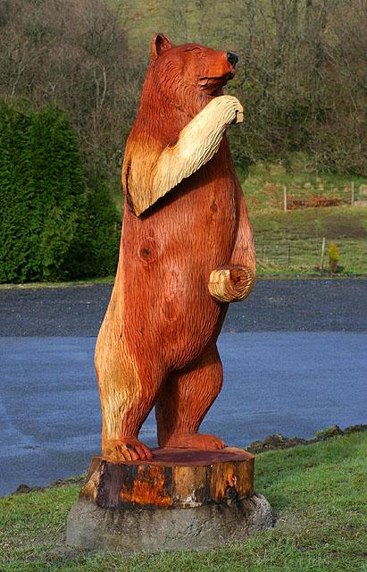 Llanwrtyd Wells Woollen Mills carved bear