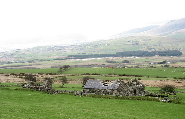 Cae Mwynen - a ruined cottage and farm buildings