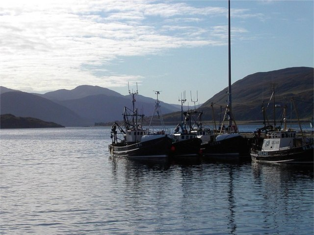 Fishing boats tied up at Ullapool harbour