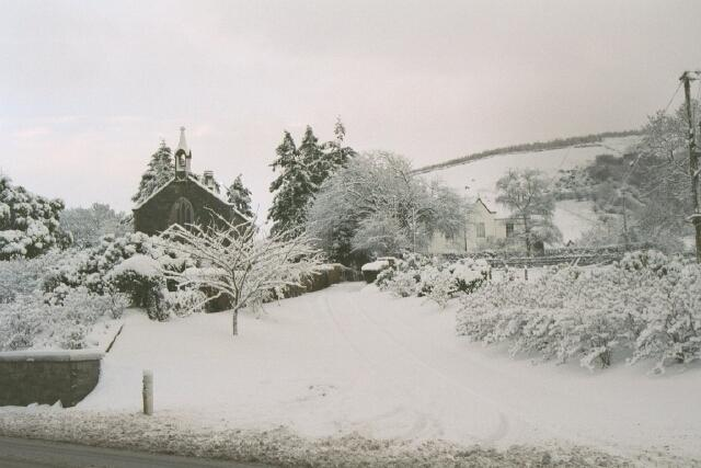 Wintry view of Glenapp Church and former Manse