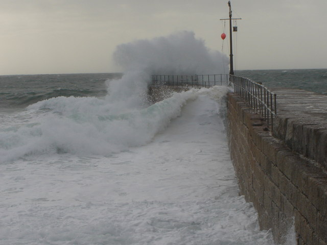 Rough Sea on a high tide, Porthleven Pier, Cornwall