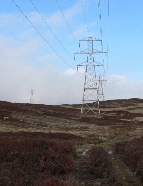 Electricity pylons, above Glen Freuchie