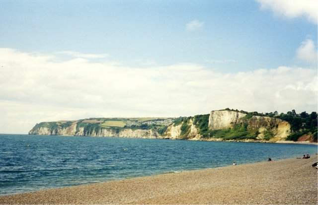 Shingle beach at Seaton Bay with Beer Head on the horizon