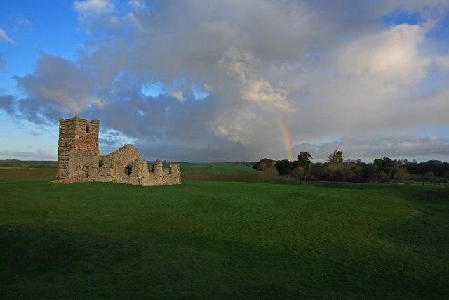 Knowlton Church ruins and rainbow