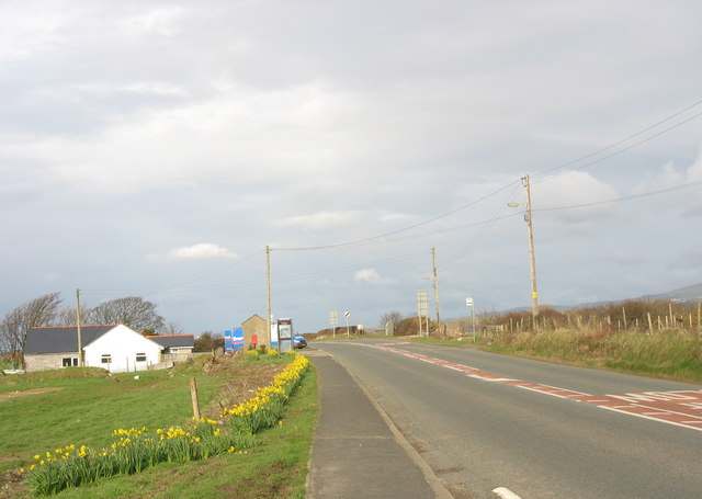 View North towards Aberdesach bridge along the A499
