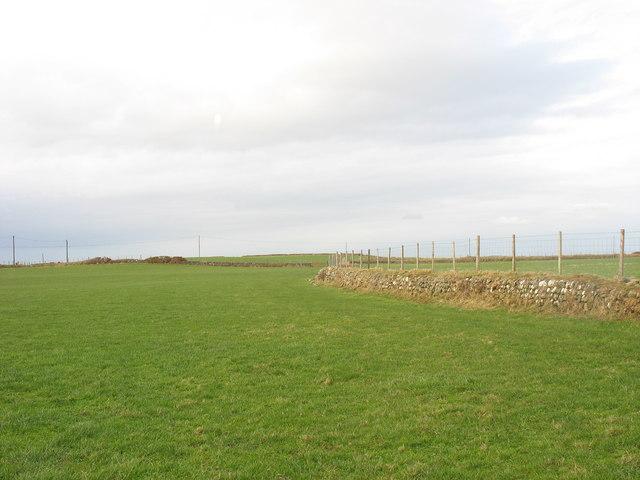 Clifftop farmland at Aberdesach