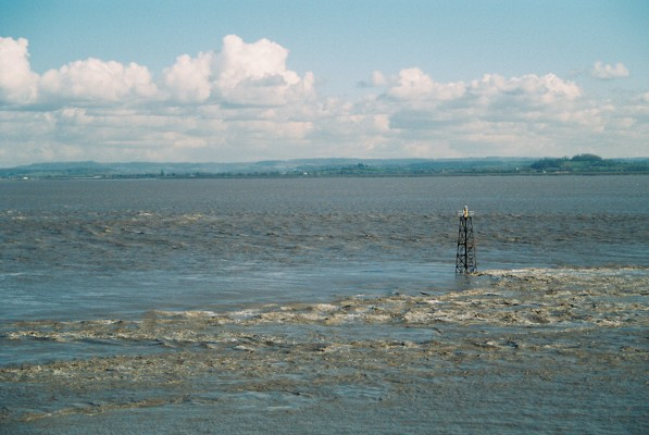 The ebbing tide on the River Severn at Beachley