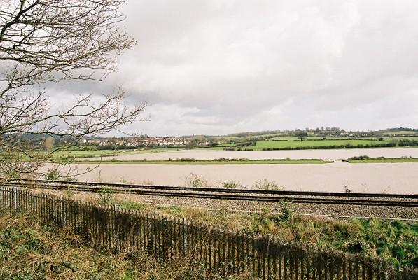 Floods on the River Wye, near Sedbury, Gloucestershire