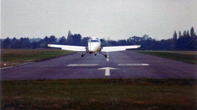Aircraft landing at Denham, 1978