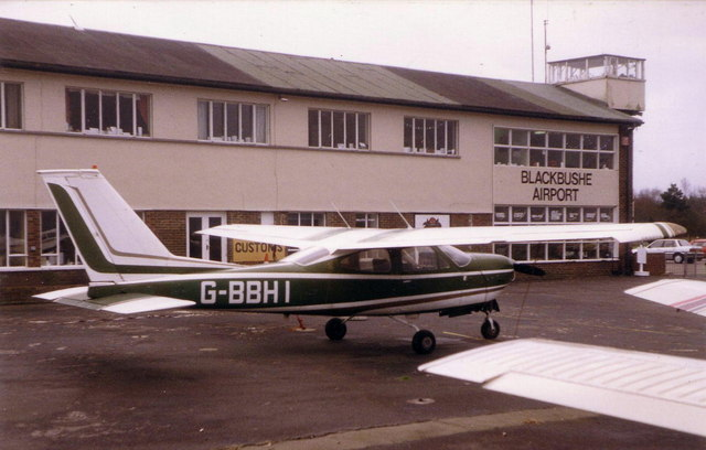 Blackbushe Airport terminal buildings from airside