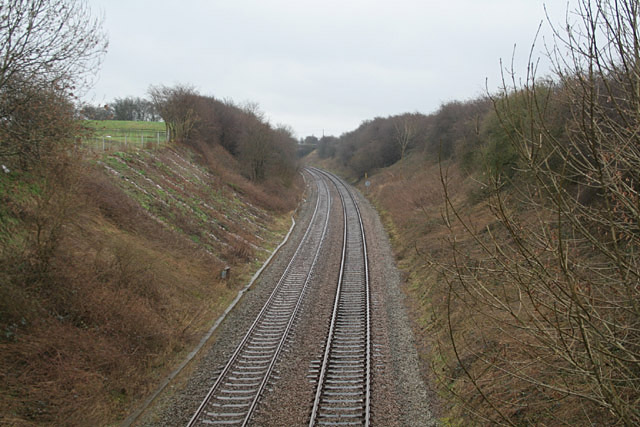 The Derby to Stoke railway at Bent's Farm Bridge