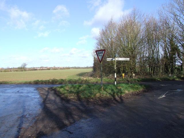 Junction to Winfarthing on road from Banham to New Buckenham