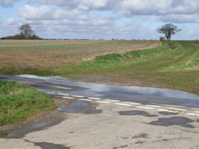 Junction of roads and farm track