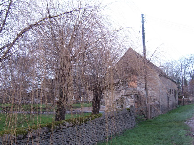 Willows and stone barn