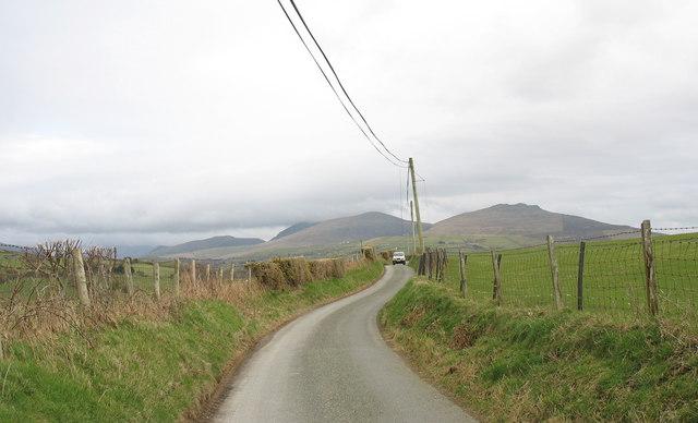 View east along the Capel Ucha' road