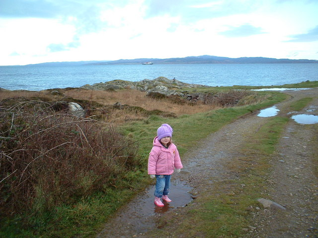 Young Eilidh MacNeill at the north tip of Gigha.