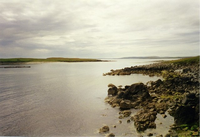 Rocky shoreline looking across The Yei to Huney Island