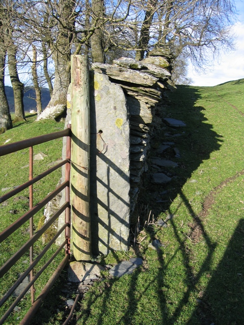 Old Stone Gatepost and Wall