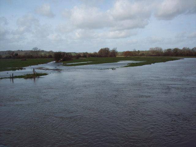 Flooded River Avon near St Mary's Church, Hale