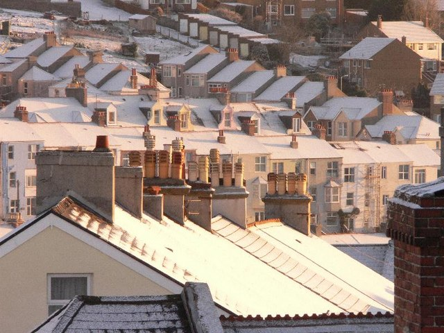 Plymouth rooftops in snow