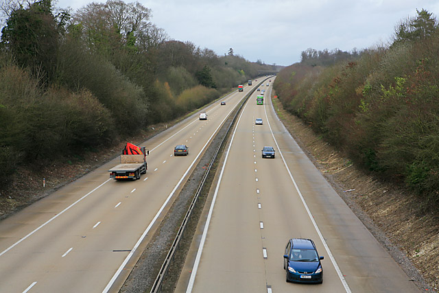 M3 seen from bridge carrying road to East Stratton