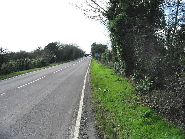 Looking SW along the A28, Island Road