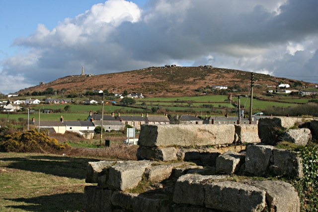View of Carn Brea from the ruins of South Tincroft Mine