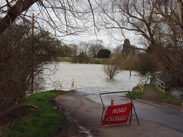 Flooded Road Sutton Gault