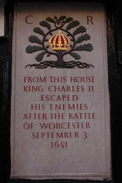 Plaque on King Charles House, Worcester