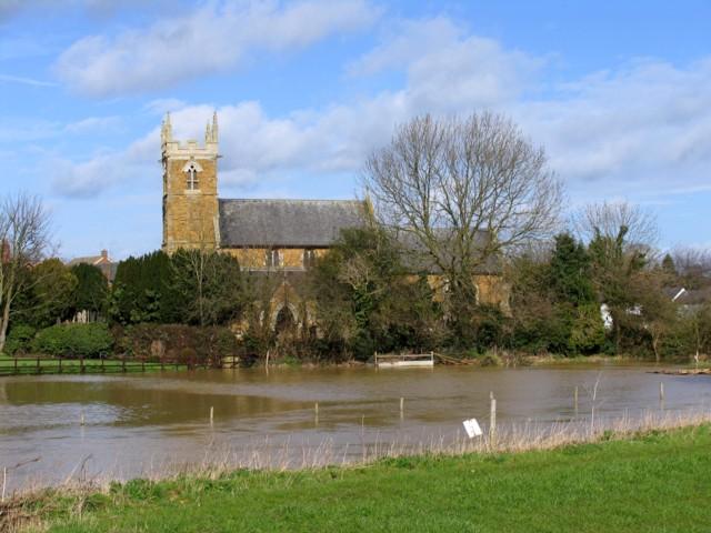 Holy Trinity Thrussington with floods