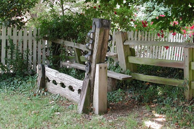 Stocks outside St Mary's Church, Brent Pelham, Herts