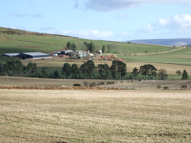 View across fields and a burn