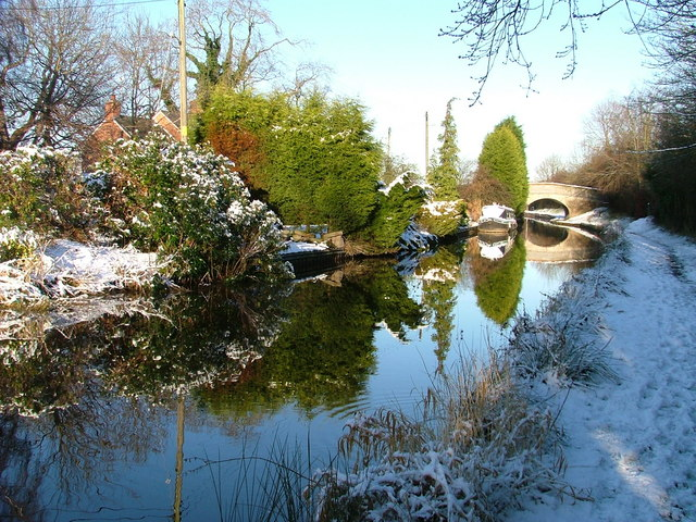Swanley Bridge up ahead on the Llangollen Canal - winter.
