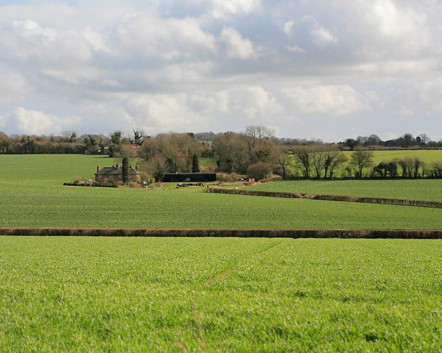 Looking at Parsonage Farm from land on Wood Farm, nr Bramdean