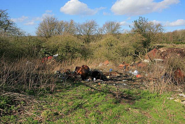Junk-filled pit on Wood Farm, nr Bramdean