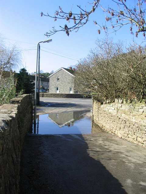 Flooded bridge over the River Brit