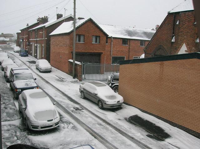 Billington Street East, Wesham in snow