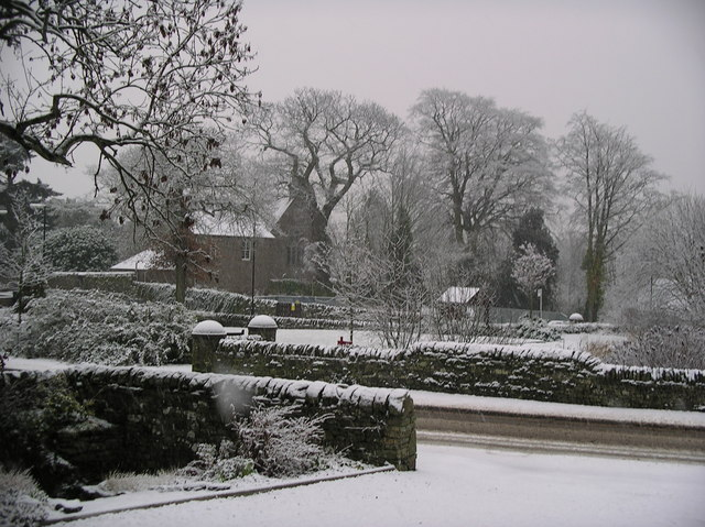Fowlis Church and Village Green in Winter