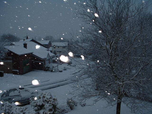 Snow in Brookvale Drive,Cardiff.