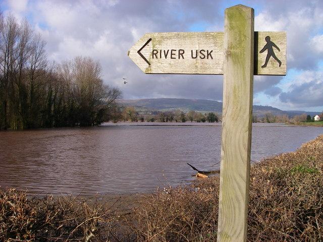 'Wysg Fawr' or the Usk in flood