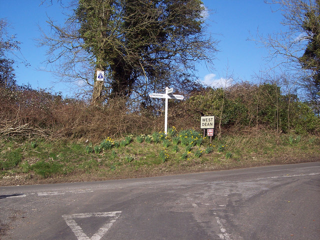 Road junction near West Dean
