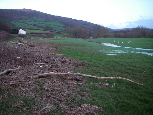 Debris from the flooding Usk