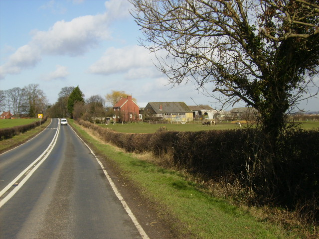 The B6265 road near New Pastures Farm